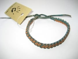 Leren gevlochten armband vriendschap - Handmade