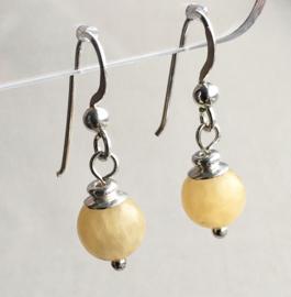 Calciet oorbellen II, echt zilver - Gele Calciet