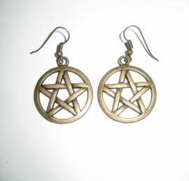 Oorbellen Pentagram - kleur brons