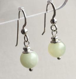 Jade oorbellen II, echt zilver - Jonge Jade