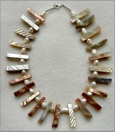 Collier Parelmoer en Zoetwaterparels - Echt zilver, echte edelstenen