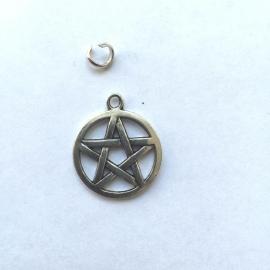 Bedel Pentagram - kleur zilver, 3 cm