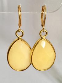 Jade (gele) oorbellen -facet druppel- echt zilver/vermeill - edelsteen