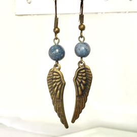 Oorbellen Engelenvleugels  Koraal, blauw - Echte edelsteen