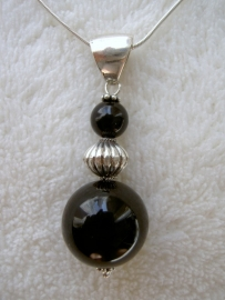 Onyx hanger - Echt zilver, echte edelstenen