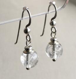 Bergkristal oorbellen II, echt zilver - Bergkristal