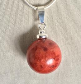 Koraal (rode spons) bolhanger echt zilver - Koraal