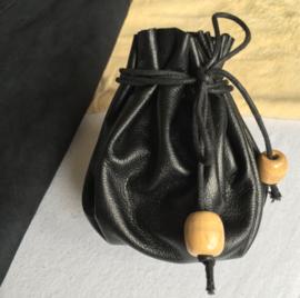 Leren Buidel, Medicijnbuidel - echt leder/suede zwart of beige