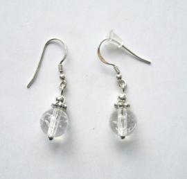 Bergkristal oorbellen I, echt zilver en edelsteen, 2 of 3 cm