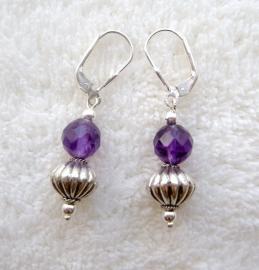 Amethyst oorbellen - Echt zilver, echte edelstenen