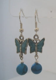 Vlinderoorbellen Turquoise, echt edelsteen