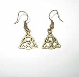Oorbellen Keltische Triquetra - kleur brons