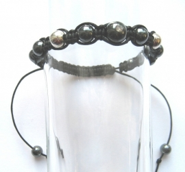 Shambhala armband Hematiet/zilver/katoen
