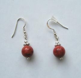 Koraal rood oorbellen I, echt zilver en edelsteen, 2 of 3 cm
