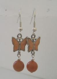 Vlinderoorbellen Oranje Aventurijn, echt edelsteen