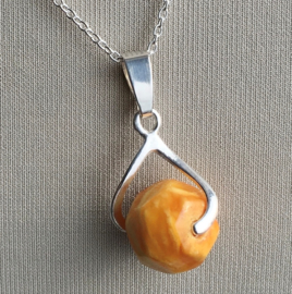 Amber (Barnsteen) hanger, Echt zilver - Amber