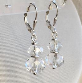 Bergkristal oorbellen V, echt zilver en edelsteen, 2,7 of 3,5cm