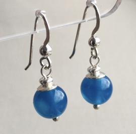 Agaat oorbellen II, echt zilver - Blauwe Agaat