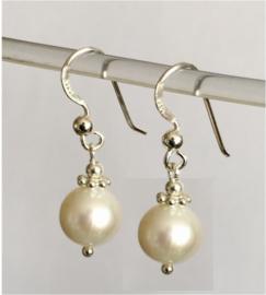 Parel oorbellen I, echt zilver en echte 1 cm parels, 2 of 3 cm