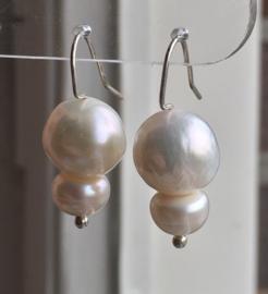 Parel oorbellen 3cm, echt zilver, echte AAA parels 1,2cm