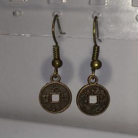 Oorbellen chinees geluksmuntje - kleur brons