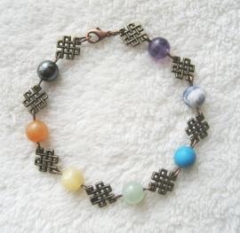 Chakra-armband, Tibetaanse knoop, echte edelstenen/brons