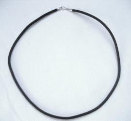 Veter - rubber, 3,5 mm dik, 50 cm lang - zilveren sluiting