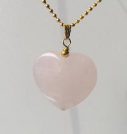 Valentine Rozenkwarts hanger hart, aan bollenketting  - verguld