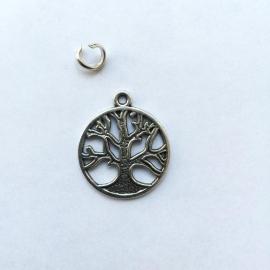 Bedel levensboom - kleur zilver 3 cm