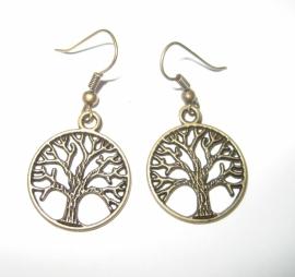 Oorbellen levensboom - kleur brons