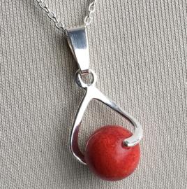 Koraal (rode spons) hanger echt zilver - Koraal