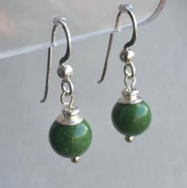 Jade oorbellen II, echt zilver - Groene Jade