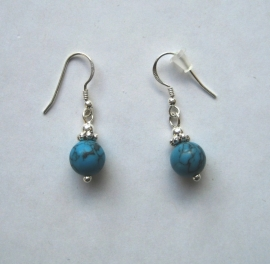 Turquoise oorbellen I, echt zilver en edelsteen, 2 of 3 cm