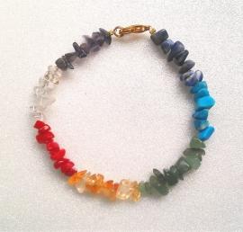 Chakra-armband met slotje, echte edelsteentjes