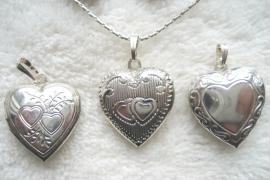 Medaillon, hart, verzilverd - drie dessins