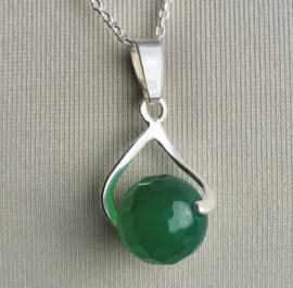 Jade, groene hanger 2,5cm, echt zilver, 10mm bol facet