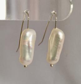 Parel oorbellen (roomkleur), echt zilver, echte AAA parels van ca. 2cm