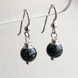 Obsidiaan oorbellen II, echt zilver - Sneeuwvlok Obsidiaan