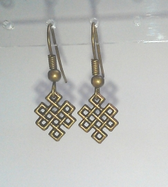 Oorbellen oneindige knoop - kleur brons
