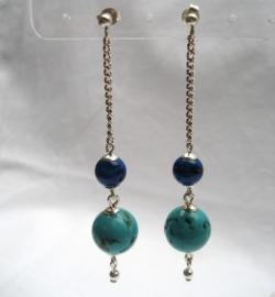 Lapiz Lasuli-Turquoise, oorsteker hangers - Echt zilver en edelstenen