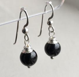Obsidiaan oorbellen II, echt zilver - Zwarte Obsidiaan