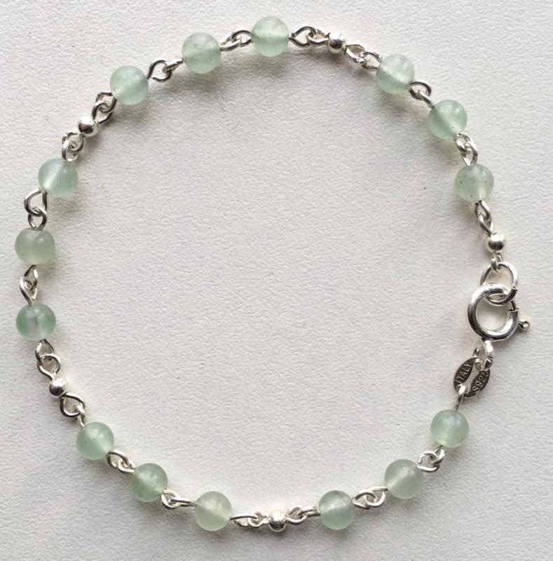 Rozenkwarts armband Romeinse stijl, Echt zilver, echte Rozenkwarts