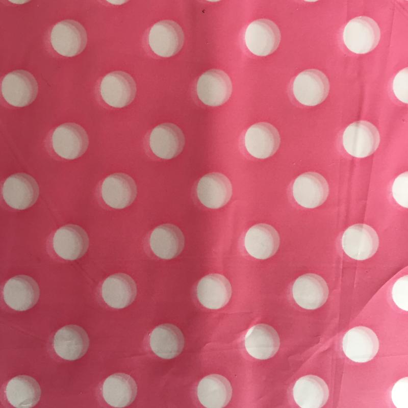 Cadeauverpakking rose/witte bollen 13 x 13 cm