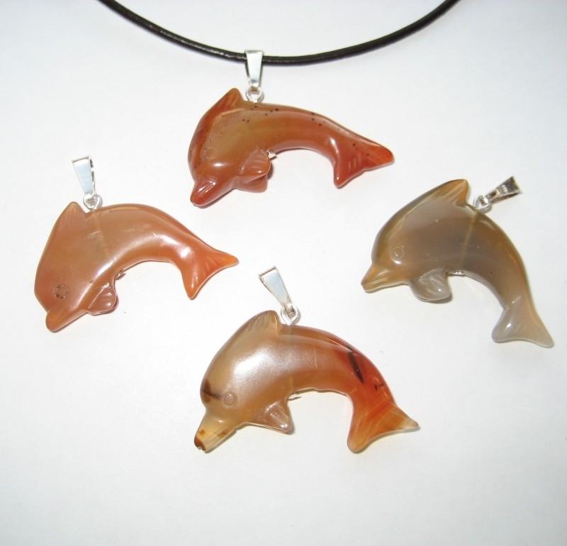 Carneool hanger, Dolfijn aan zilveren oog