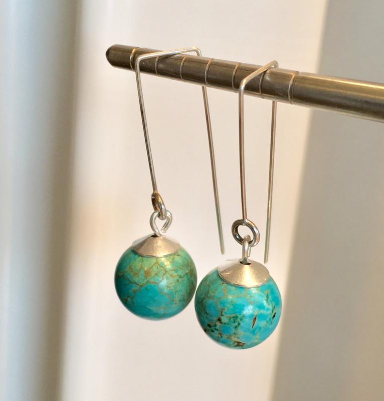 Turquoise oorbellen, echt zilver - edelsteen
