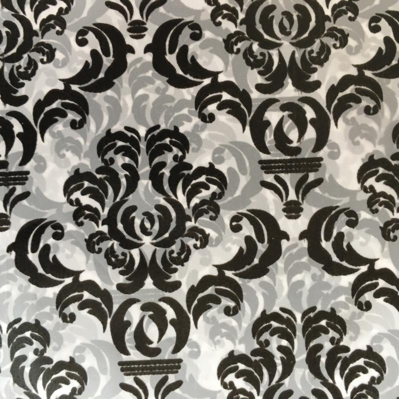 Cadeauverpakking zwart/wit barok 13 x 13 cm
