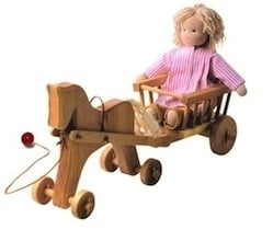 Wooden Pull Horse with Cart