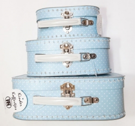 Polka Dot Blue White Suitcase Set (Set of 3)