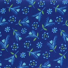 Coton imprimé Gitane indigo