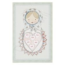 Clayre & Eef Button Card Heart Shaped Buttons White